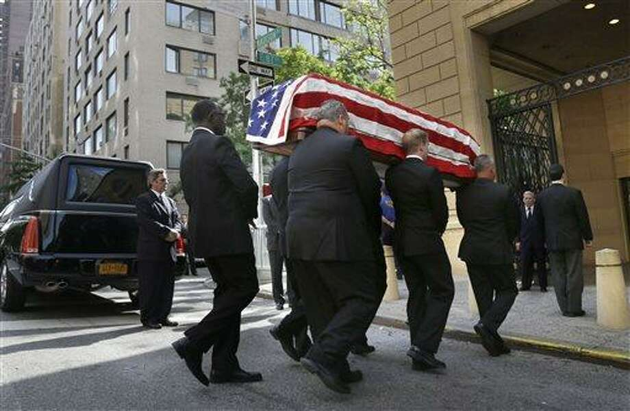 The casket containing the body of  U.S. Sen. Frank Lautenberg is carried into the Park Avenue Synagogue in New York, Wednesday, June 5, 2013. Lautenberg's nearly three decades in office and the causes he championed will be remembered at a funeral service in New York. (AP Photo/Seth Wenig) Photo: AP / AP