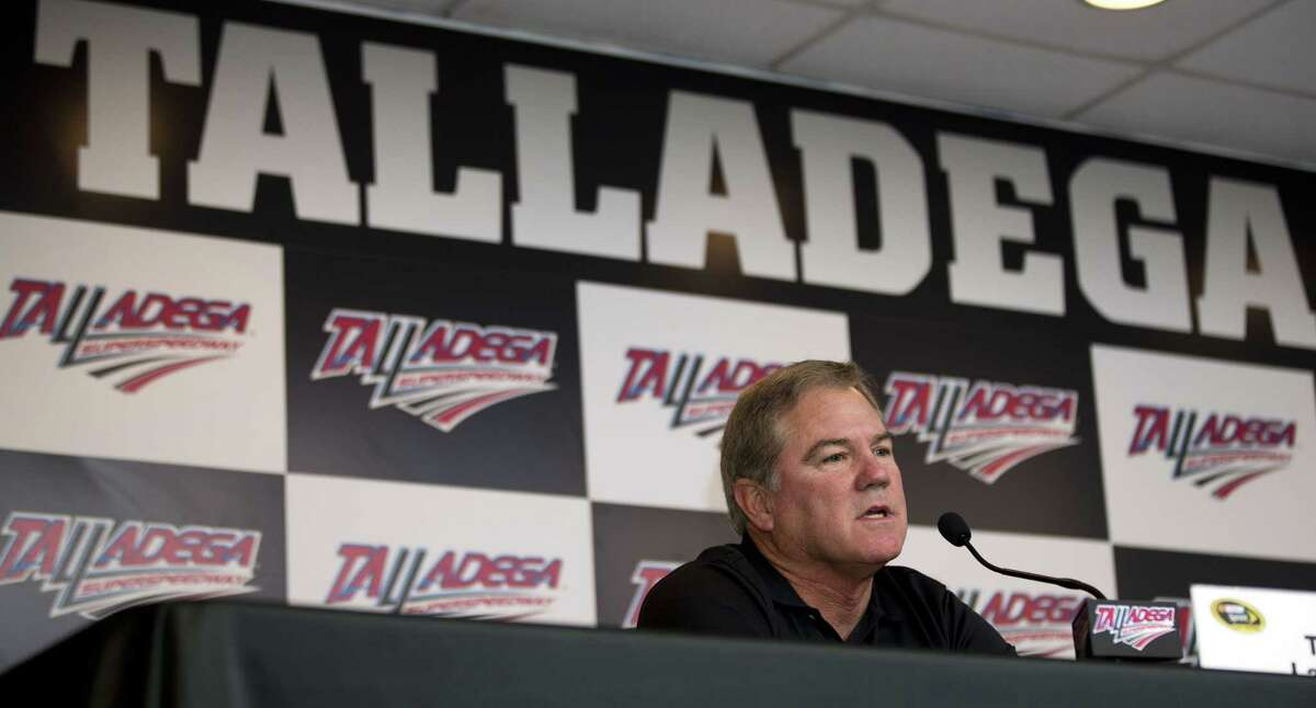 NASCAR driver Terry Labonte announces his retirement during a news conference on Saturday at Talladega Superspeedway in Talladega, Ala.