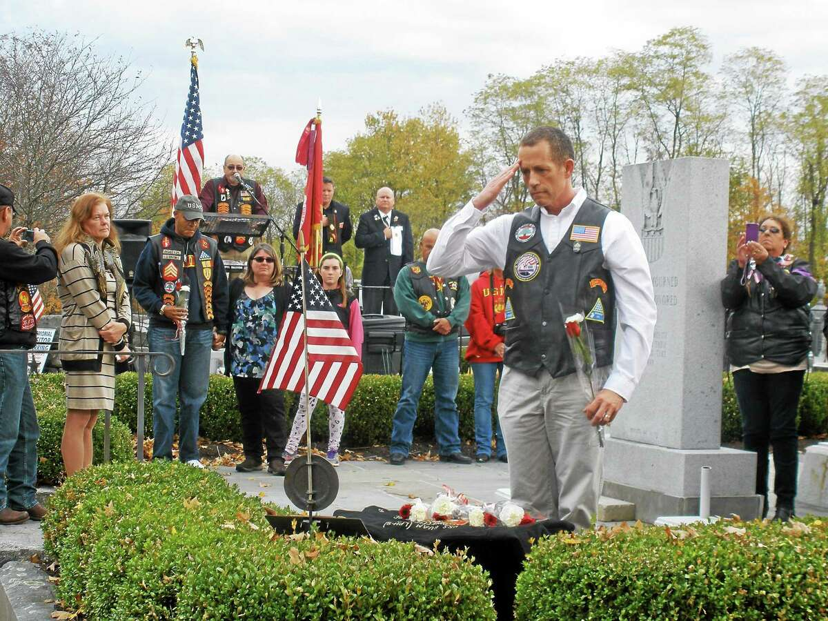 A crowd of around 50 spectators gathered with 15 veterans that served in Beirut for a ceremony Saturday hosted by the Tyler-Seward-Kubish American Legion Post 44 at the All War's Memorial in Bantam. On Oct. 23, 1983, two truck bombs struck barracks housing U.S. and French troops who were in Beirut on a peacekeeping mission during the Lebanese Civil War.
