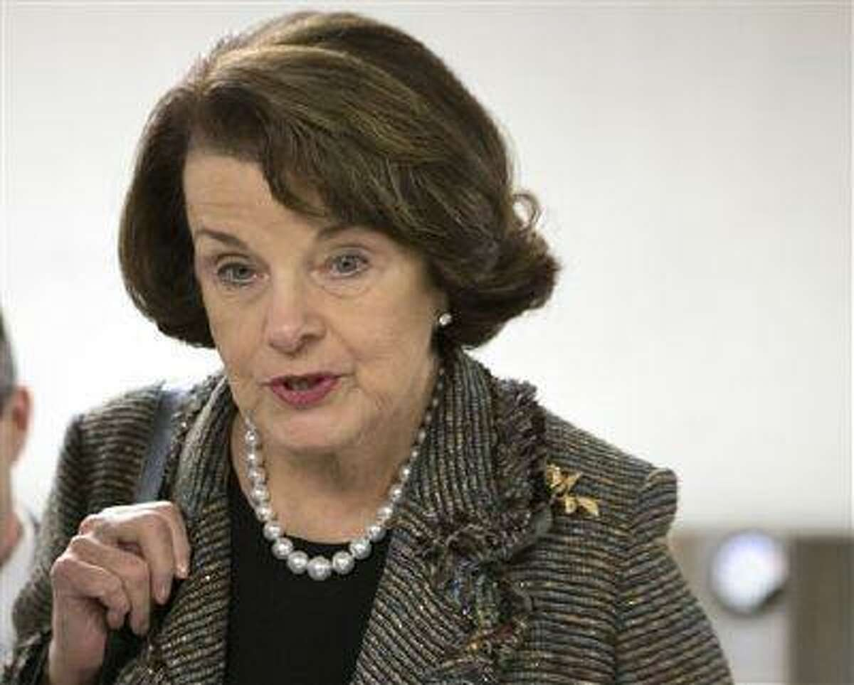 In this Feb. 25, 2013 file photo, Sen. Dianne Feinstein, D-Calif., speaks with reporters on Capitol Hill in Washington.