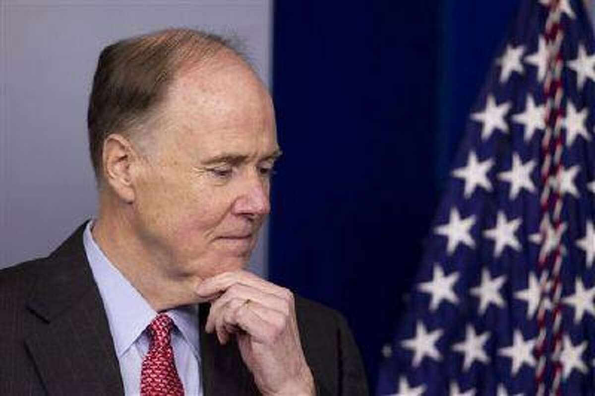 In this May 12, 2012 file photo, National Security Adviser Tom Donilon pauses before the daily news briefing at the White House in Washington. President Barack Obama's top national security adviser Tom Donilon is resigning and will be replaced by U.S. ambassador to the United Nations Susan Rice, marking a significant shakeup to the White House foreign policy team.