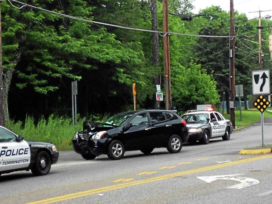 A one-vehicle accident at the intersection of Main Street, Winsted Road and Newfield Road slowed traffic in Torrington briefly Tuesday afternoon around 2:15 p.m. Photo: Jenny Golfin — The Register Citizen