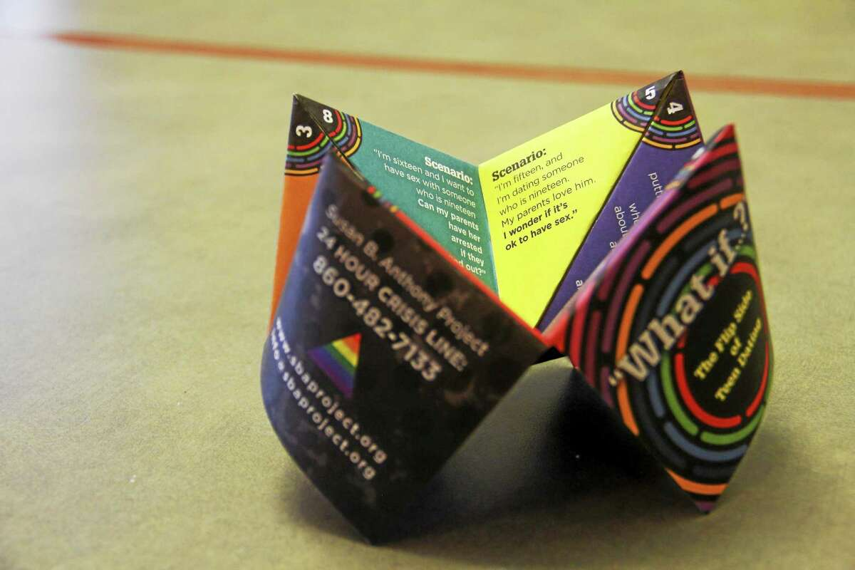 A foldable teen brochure handed out by the Susan B. Anthony Project helps students understand relationships and consent. It was created with funding provided by Verizon.