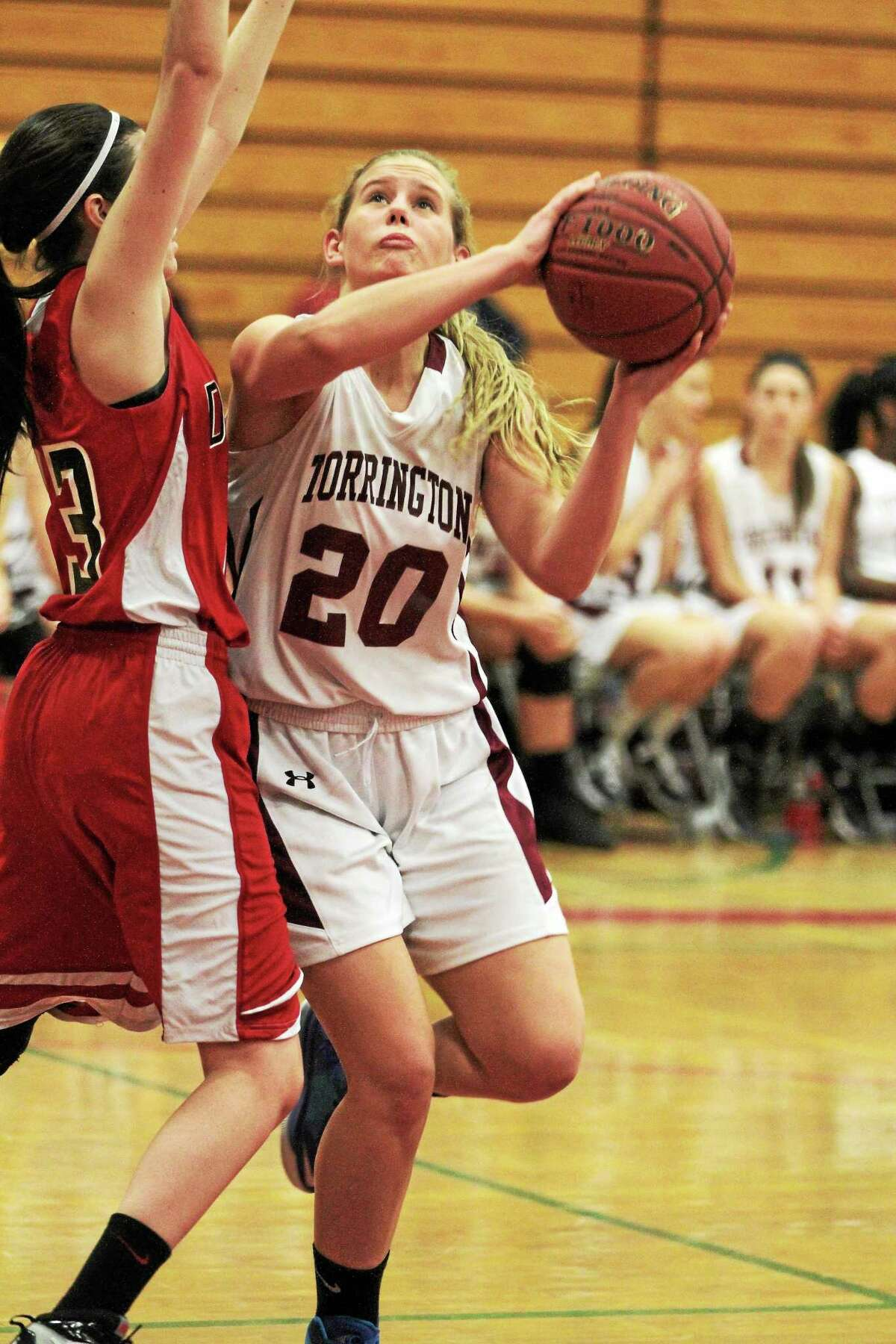 Torrington's Brittany Anderson goes up for a layup during the Red Raiders 71-41 win over Derby. Anderson finished with five points.
