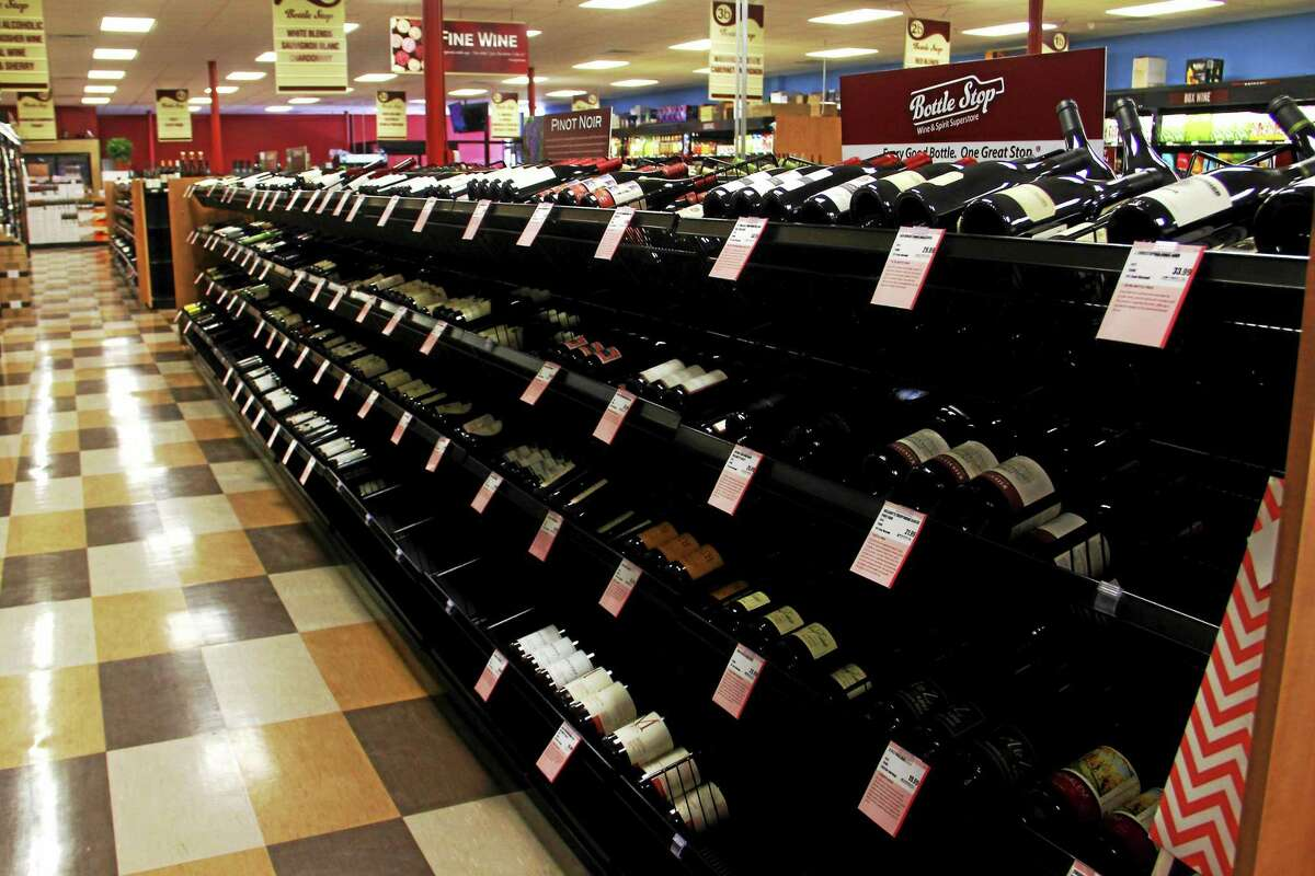 A selection of wine at Bottle Stop, a new package store in Torrington.