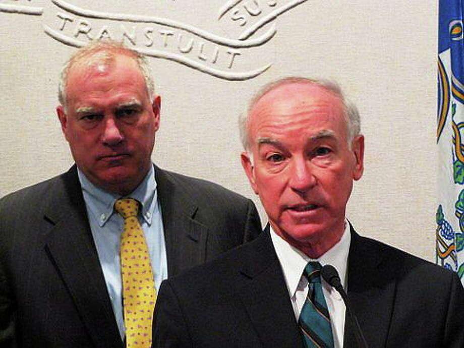 U.S. Rep. Joe Courtney and Attorney General George Jepsen. Hugh McQuaid/CT NewsJunkie Photo: Journal Register Co.