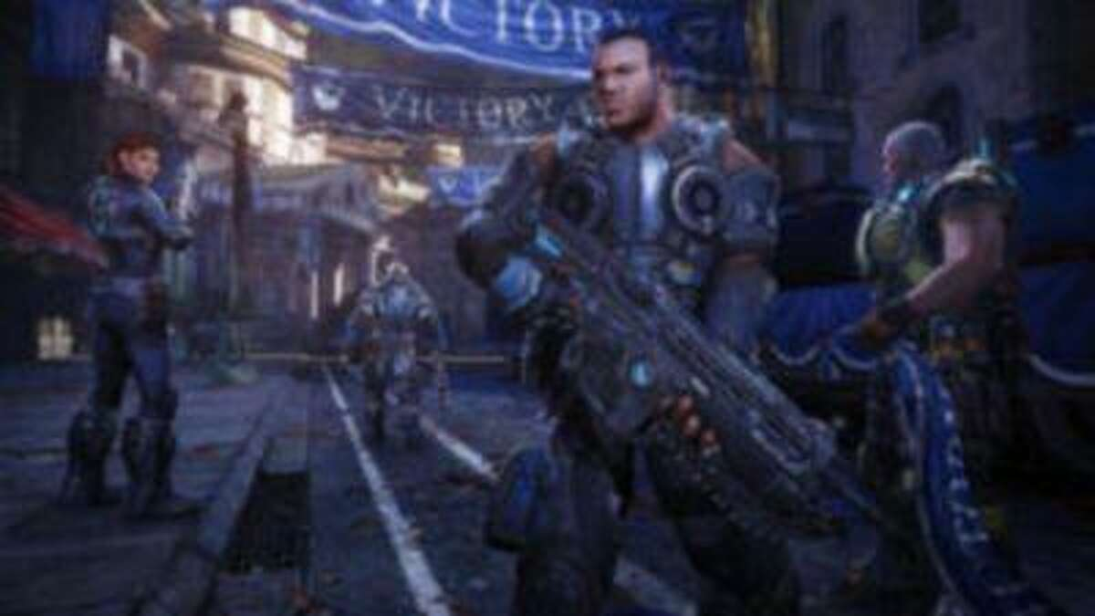 Courtesy of Microsoft Sofia, from left, Baird, Cole and Paduk make up Kilo Squad in Gears of War: Judgment. ( Microsoft )
