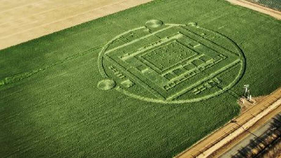 This photo provided by NVIDIA shows the 310-foot ?crop circle? in a California barley field that mystified locals this week.