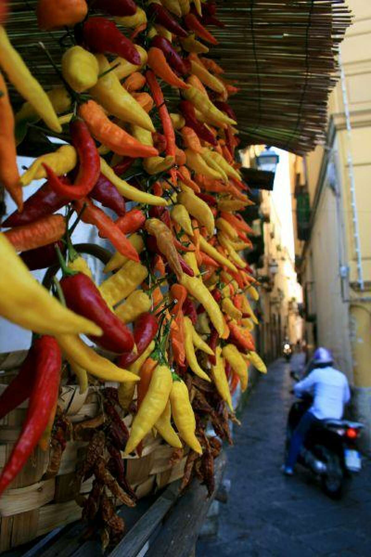 The streets of Sorrento, Italy are lined with stalls selling fresh chilies.