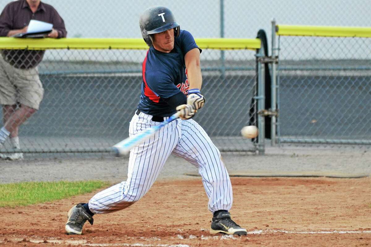 Torrington's Adam Fuoco rips a two RBI base hit in the fourth inning.