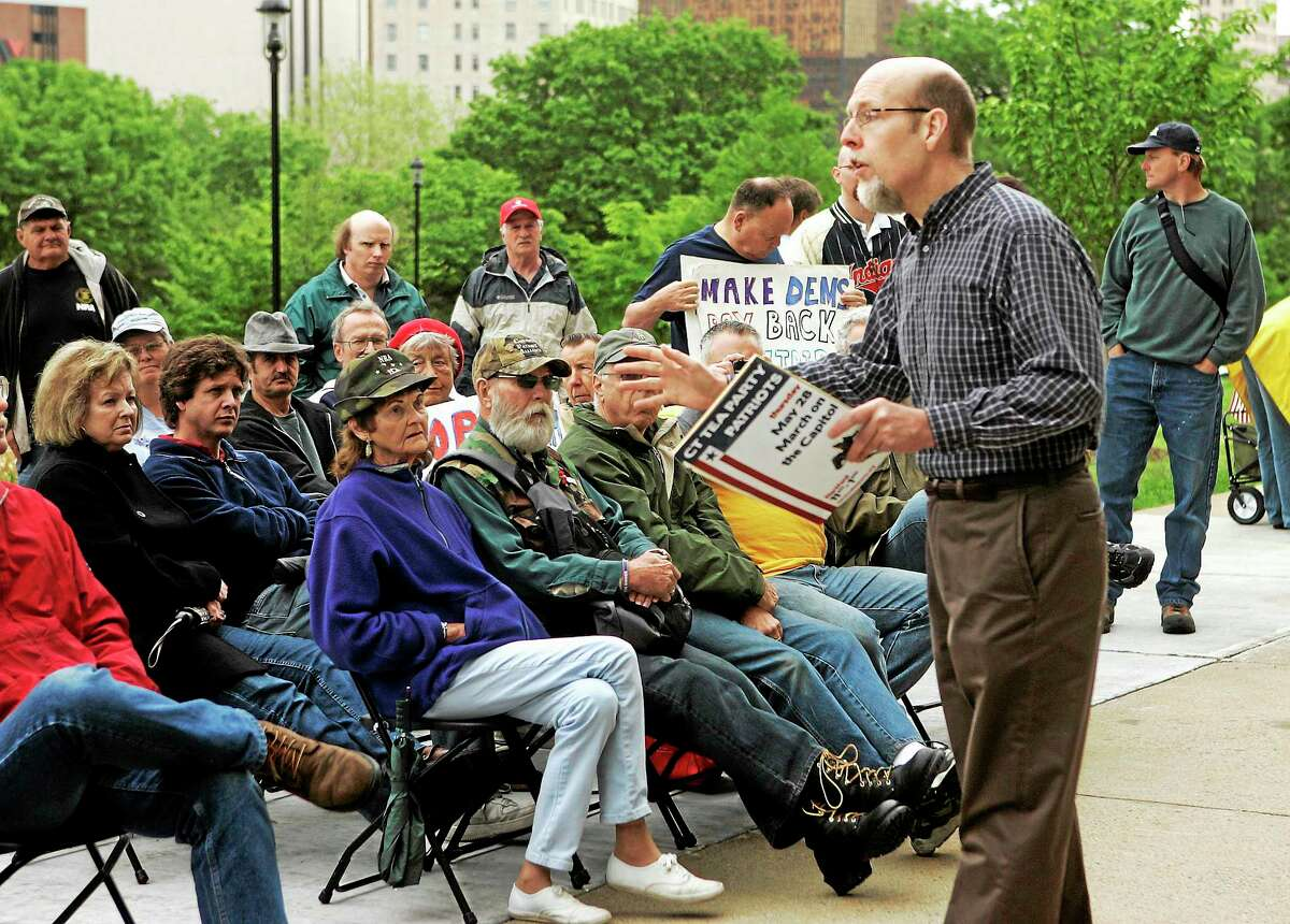 Connecticut state Sen. Joseph Markley addresses a small rally held outside the state Capitol in Hartford, Conn. on May 28, 2009. The rally was held to protest government spending and taxation.