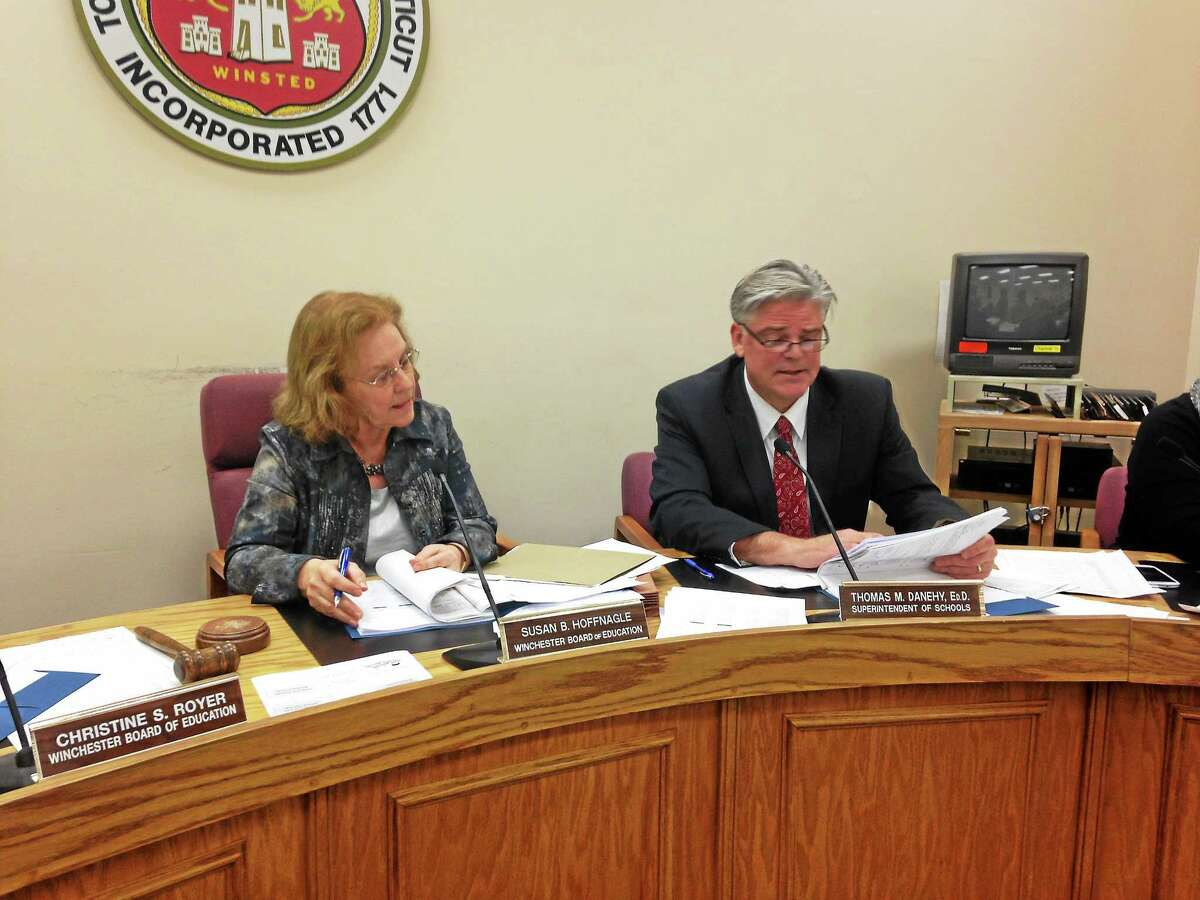 Chair of the board of education Susan Hoffnagle and Superintendent Thomas Danehy pictured during a board of education meeting.