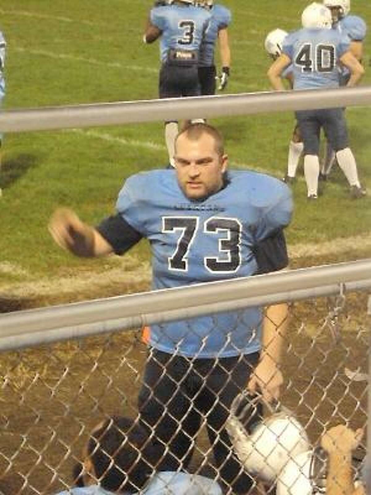 Submitted Photo/Andrew Theriault Andrew Theriault played football at Torrington High School from 1997-2001. He was named to the All-NVL team as a guard/defensive lineman and again as a center/defensive lineman. He now plays semi-pro football for the Hartford football Whalers.