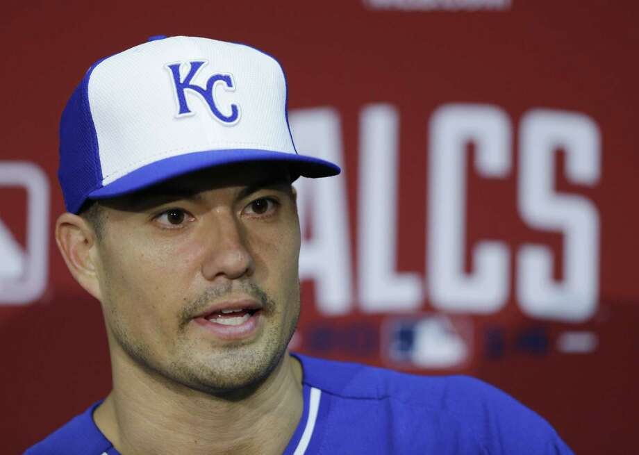 """Kansas City Royals starting pitcher Jeremy Guthrie apologized on Twitter to the Orioles for wearing a T-shirt to his postgame press conference on Tuesday night that read, """"These O's Ain't Royal."""" Photo: Michael Conroy — The Associated Press  / AP"""
