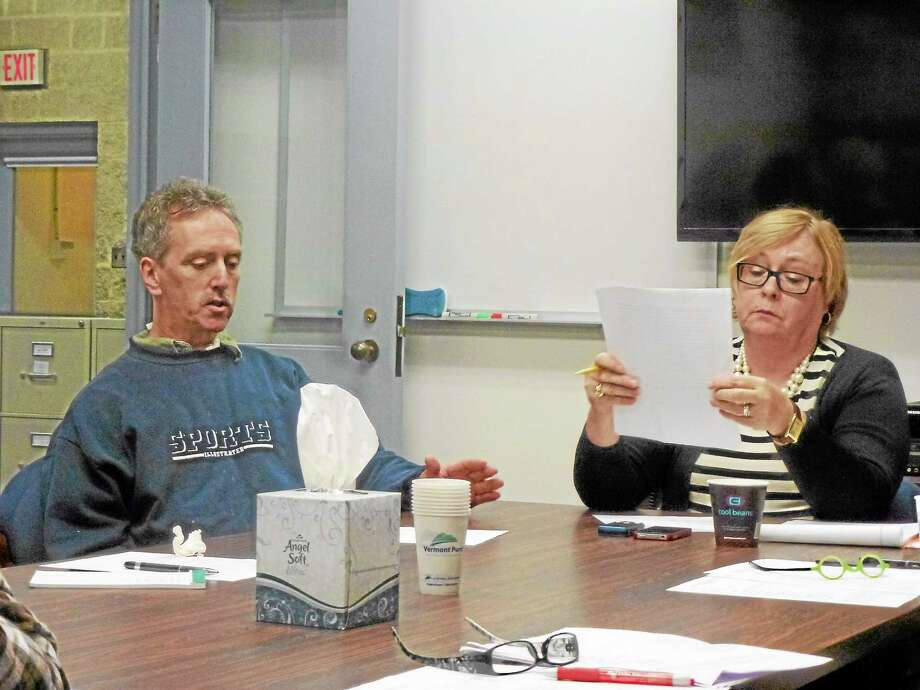 Litchfield Board of Education member James Katzin (left) and Superintendent Deborah Wheeler agreed that disparate discipline between the sexes is a national issue during a meeting Thursday. Photo: Ryan Flynn—Register Citizen