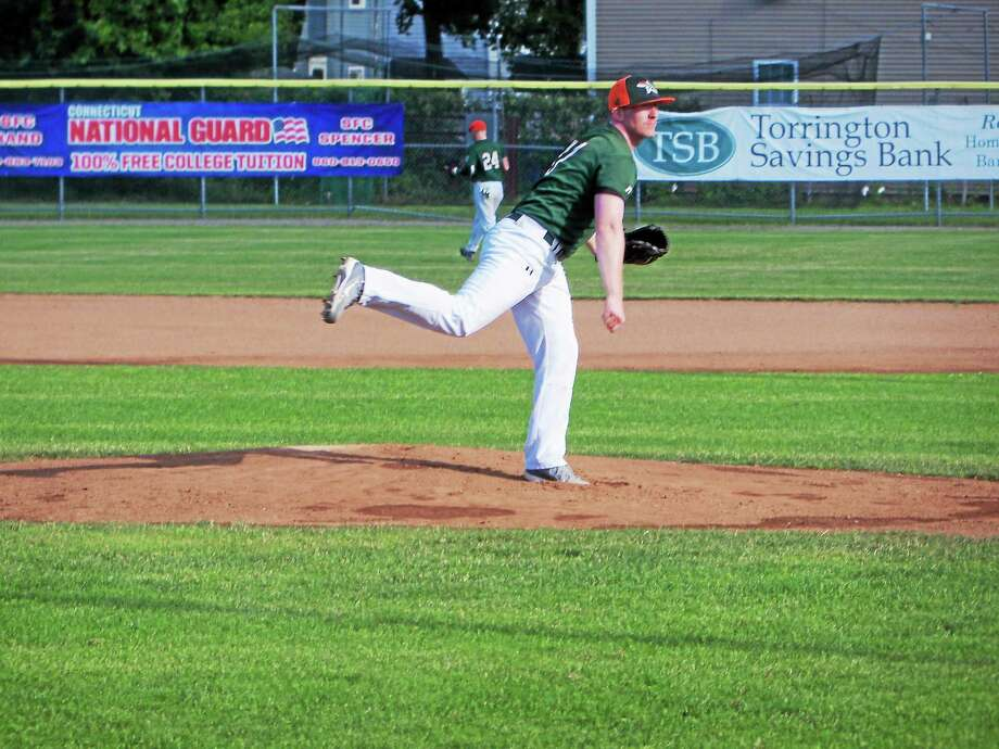 Torrington player/coach Curtis Anthony made his first start of the year, pitching five strong innings before the game slipped away from the Rebels. Photo: Peter Wallace — Register Citizen
