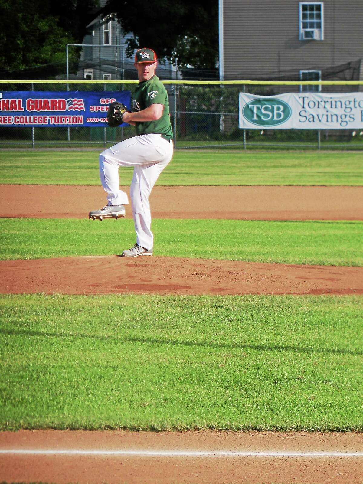Torrington player/coach Curtis Anthony made his first start of the year, pitching five strong innings before the game slipped away from the Rebels.