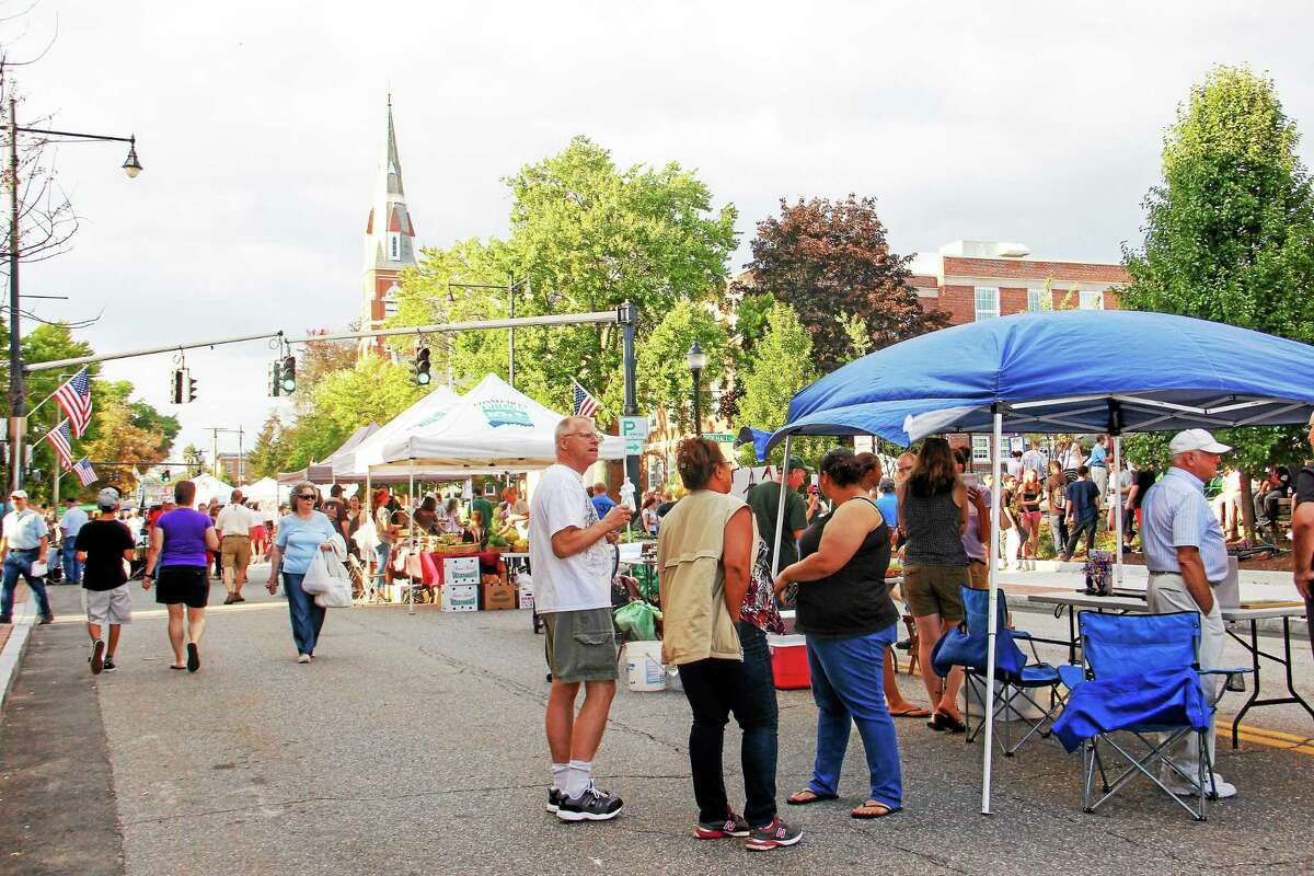 Crowds packed Torrington's Main Street for the final Main Street Marketplace of the summer season in August.