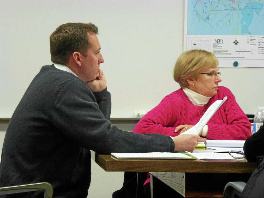 Chair Kevin Tieman, a detective for the Torrington police and Elisa Bauer led the discussion on drugs in the community. Photo: Ryan Flynn—Register Citizen