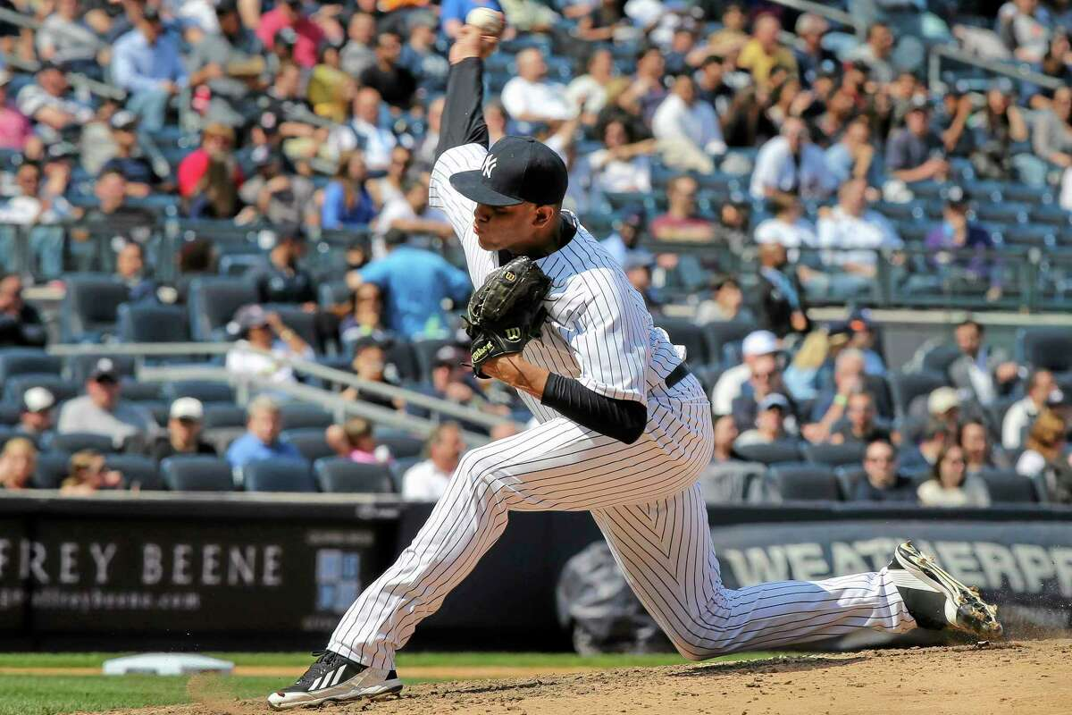 Yankees relief pitcher Dellin Betances throws in the sixth inning of a game against the Los Angeles Angels on April 26 in New York. The other half of the Killer B's, Manny Banuelos, is healthy and doing well for Double-A Trenton.