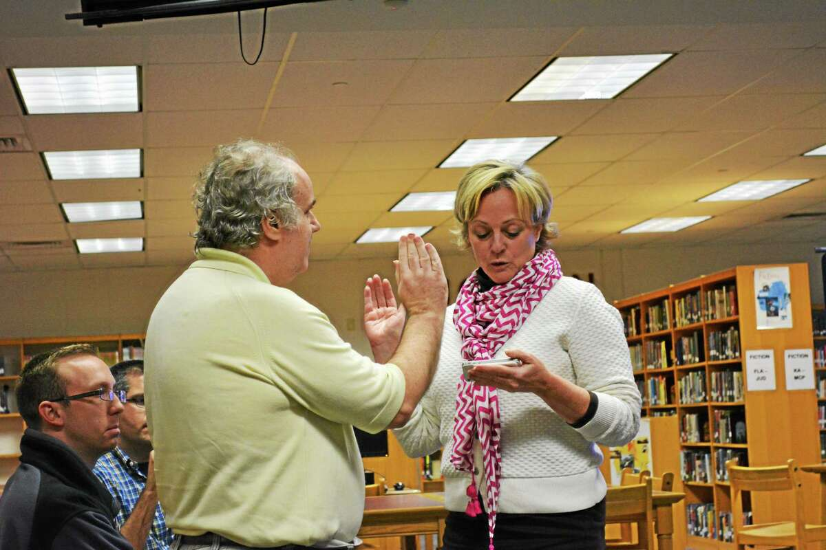 Bill Knight was sworn as a member of the Torrington Board of Education Wednesday by Mayor Elinor Carbone.