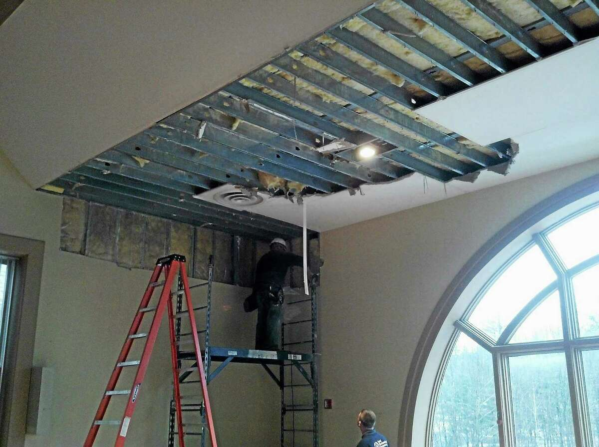 The ruptured sprinkler was located in the Senior Center on the third floor of New Hartford Town Hall. The building will be closed to the public the week of Jan. 6, 2014 while the damage is repaired.