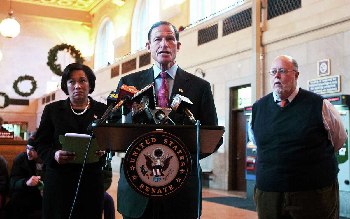 (Peter Casolino ó New Haven Register) Senator Richard Blumenthal talks about proposed rail commuter subsidies during a press conference with New Haven Mayor Toni Harp and commuter rail advocate, Jim Cameron at New Haven Union Station. pcasolino@NewHavenRegister