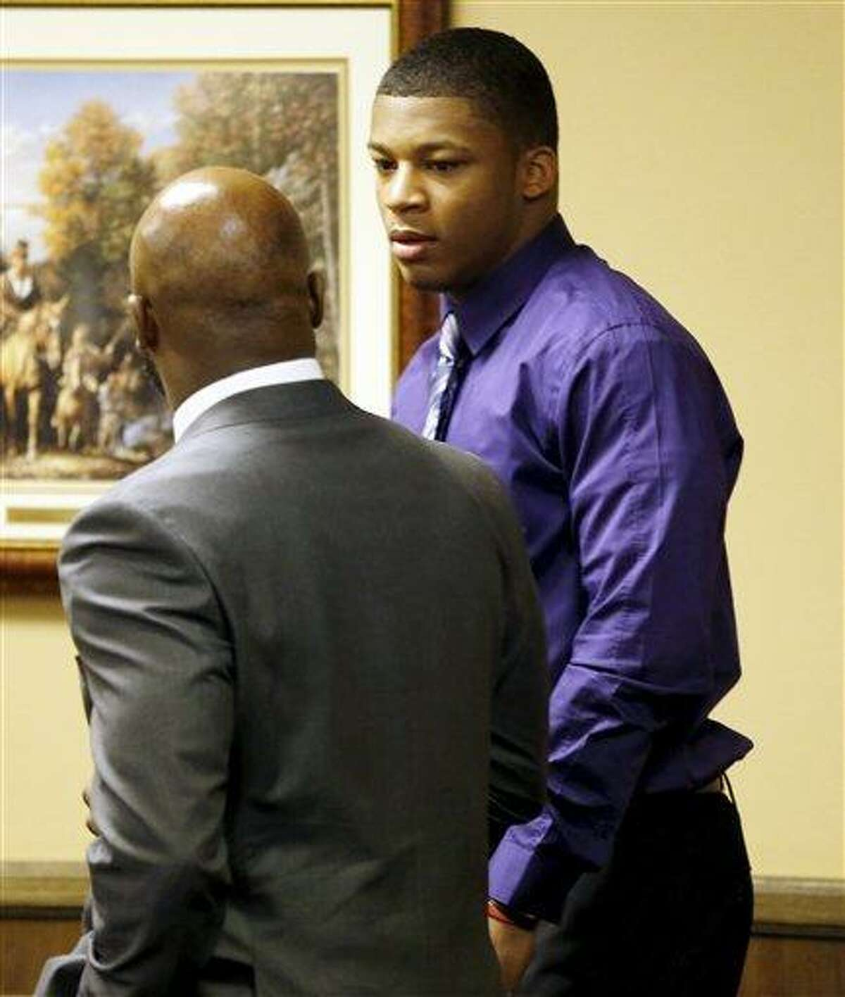 MaysMa'lik Richmond, 16, right, talks with hsia attorner Walter madison as they enter court for the fourth day of his and co-defendant, 17-year-old Trent Mays trial on rape charges in juvenile court on Saturday, March 16, 2013 in Steubenville, Ohio. Mays and Richmond are accused of raping a 16-year-old West Virginia girl in August, 2012. (AP Photo/Keith Srakocic, Pool)