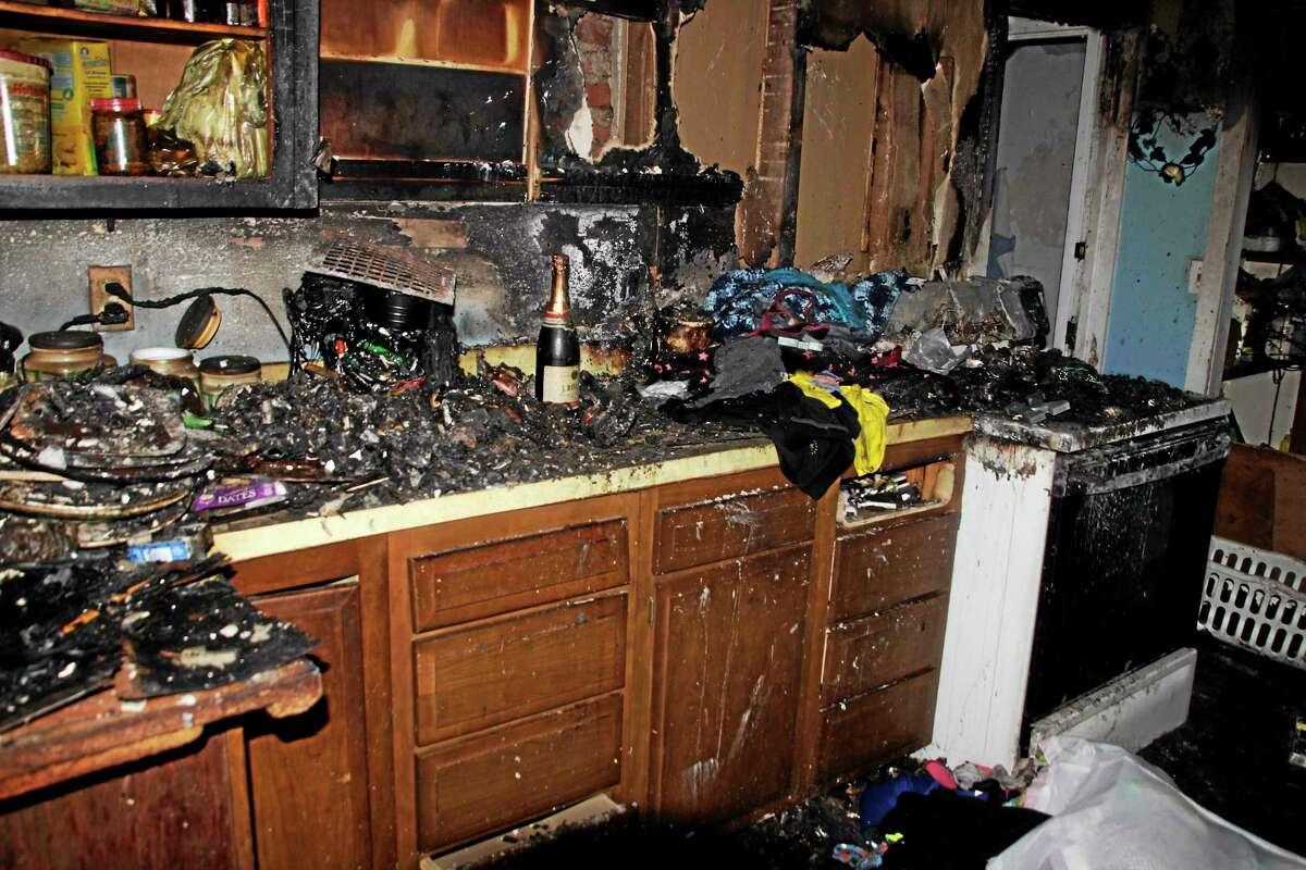The kitchen at 30 South Chapel St. in Torrington where a two-alarm fire started Friday.
