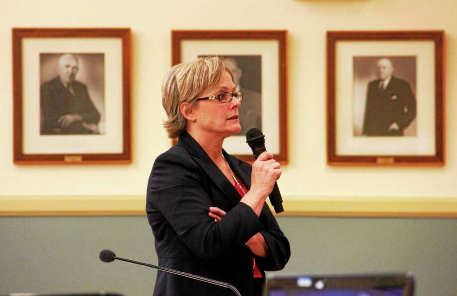 Torrington Mayor Elinor Carbone leads a brief presentation on the city's budget during a special joint City Council and Board of Finance meeting on May 6. Photo: Esteban L. Hernandez — The Register Citizen