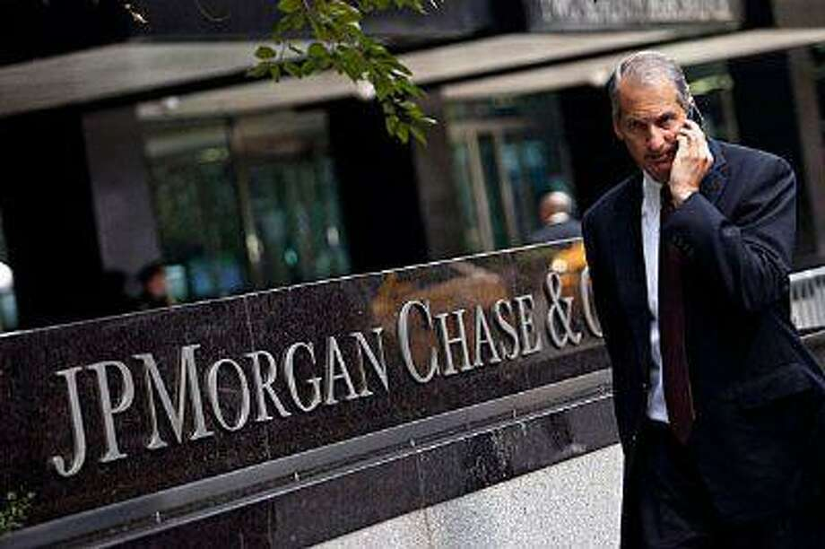 A man walks past JP Morgan Chase's international headquarters in New York.