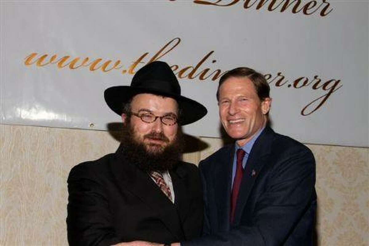 Rabbi Joseph Eisenbach, leader of Chabad Lubavitch of Northwest Connecticut, with U.S. Sen. Richard Blumenthal, in a photo from the group's Web site, http://www.chabadnw.org.