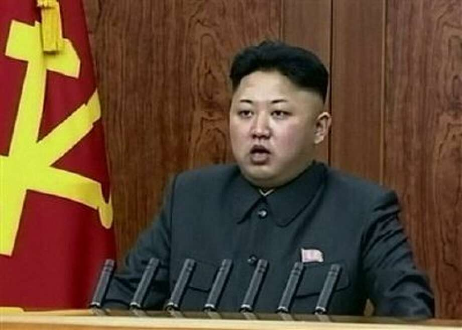 North Korean leader Kim Jong Un delivers an annual New Year's Day message in Pyongyang, North Korea. Photo: AP / KRT via AP Video