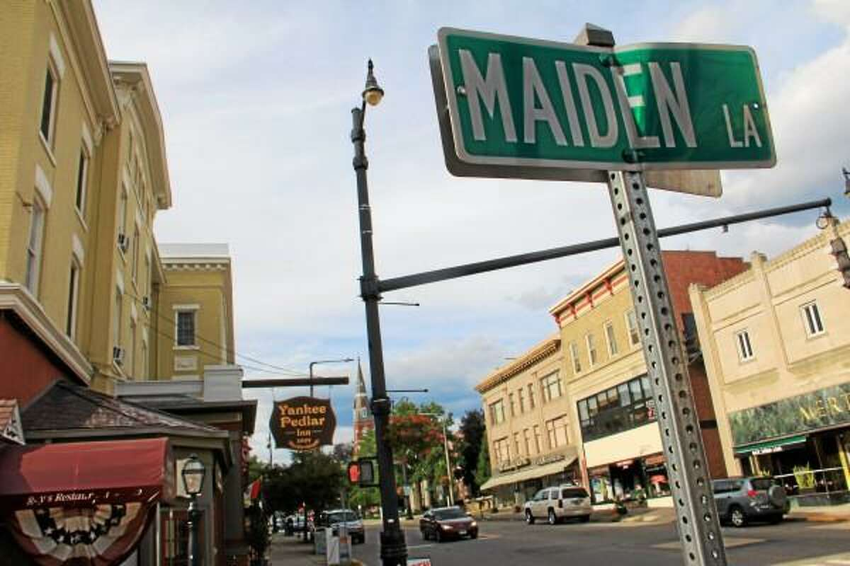 Main Street between Maiden Lane and Mason Street on Wednesday, July 31. The area will be the first to undergoe improvements under the Main Street realignment project that has been in planning stages since the fall of 2012. (Esteban L. Hernandez-Register Citizen)