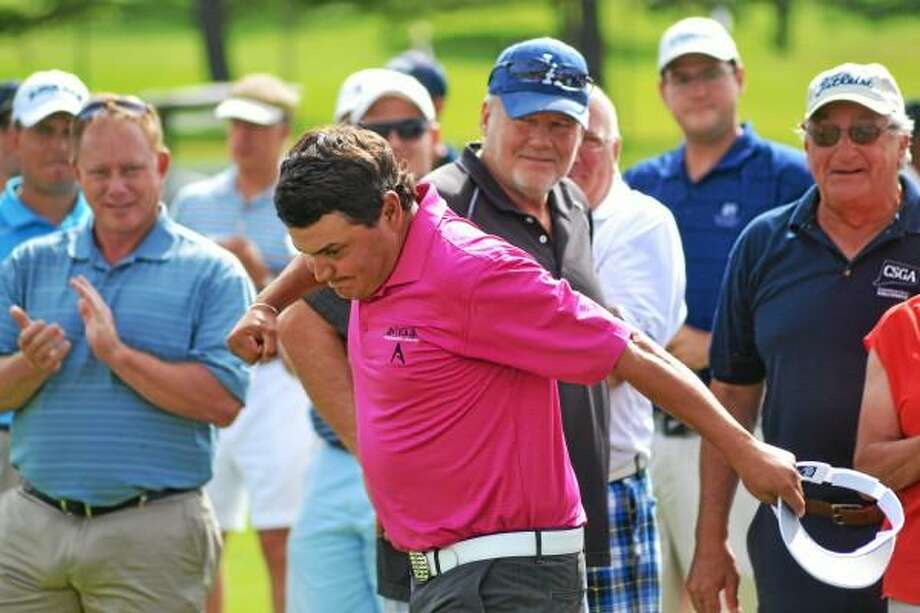 Pete Paguaga Register Citizen  Jeff Curl fist pumps after Williams Downes missed chip in the first hole of the four-way playoffs clinches the Connecticut Open title.