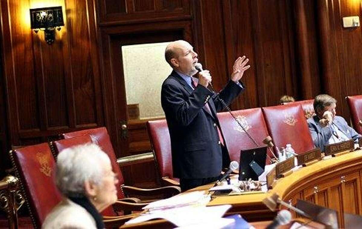 Sen. Joe Markely, R-Southington, speaks on the floor of the Senate last year. CTNJ file photo