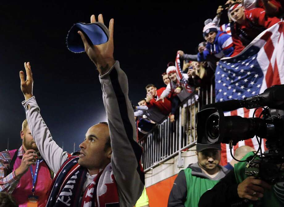 The all-time leading scorer in United States national team history, Landon Donovan waves to fans after an international friendly with Ecuador at Rentschler Field in East Hartford on Friday night. It was the final match of Donovan's international career. Photo: Elise Amendola — The Associated Press  / AP