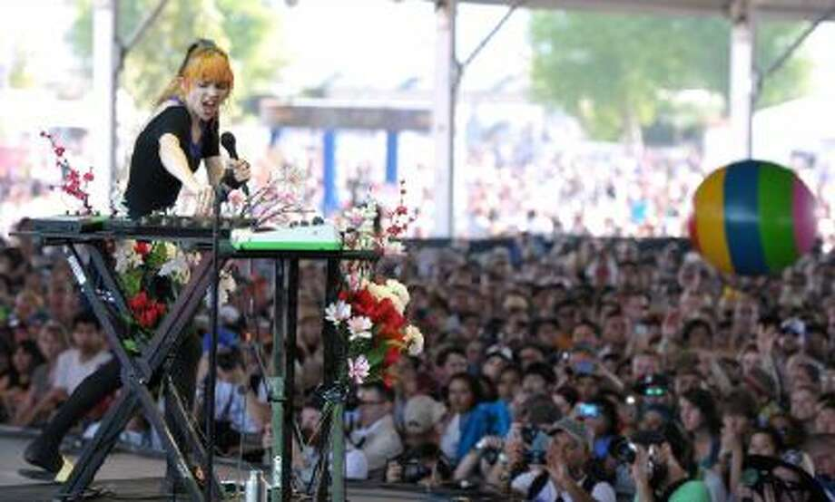 Claire Boucher aka Grimes performs during the second weekend of the 2013 Coachella Valley Music and Arts Festival at the Empire Polo Club on Sunday, April 21, 2013 in Indio, Calif.