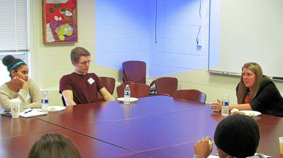 "Torrington Economic Development Director Erin Wilson, right, speaks to students at UConn Torrington Thursday during a ""Career Conversations"" event at the school. Photo: John Nestor — Special To The Register Citizen"