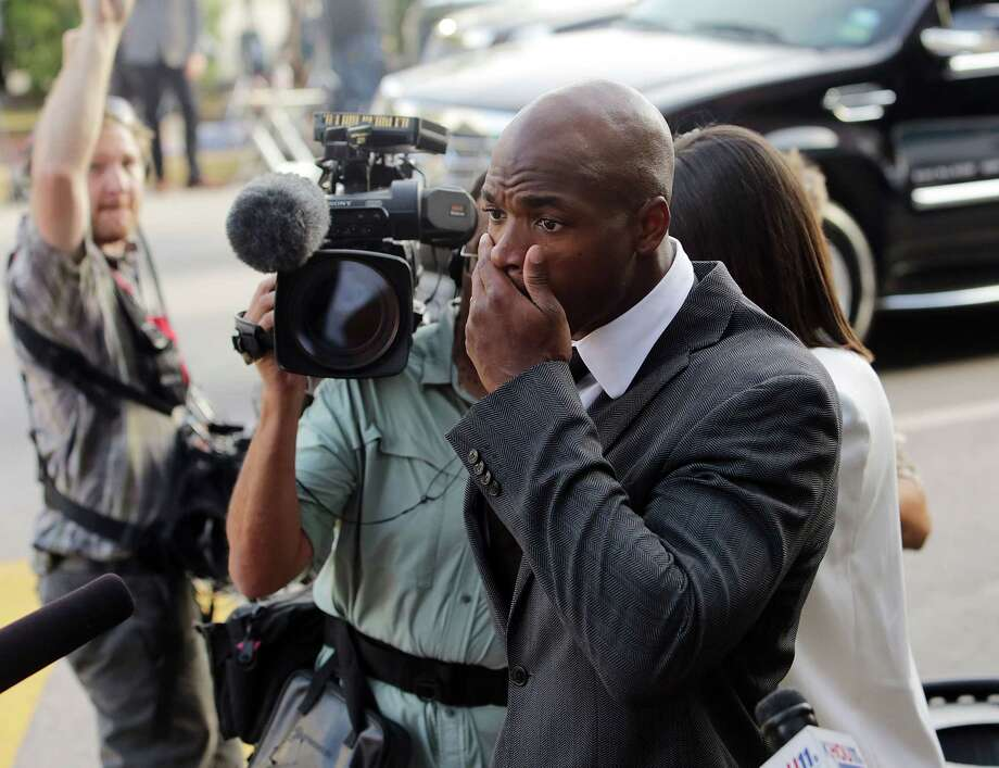 Minnesota Vikings running back Adrian Peterson arrives at court Wednesday in Conroe, Texas. Photo: Billy Smith II — Houston Chronicle  / Houston Chronicle
