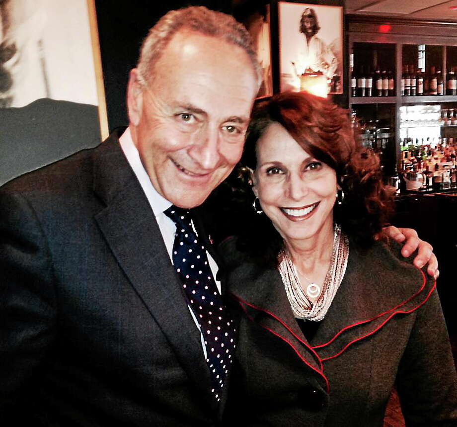 Contributed photo  Woodbury resident Nancy Cappello pictured with New York Sen. Chuck Schumer. For the last decade, Cappello and her husband, Joe, have been doing their part through their nonprofit organization Are You Dense? Inc., which works to educate women about the importance of knowing their breast density to prevent later-stage cancer diagnoses, and to help in the fight against breast cancer. Photo: Journal Register Co.