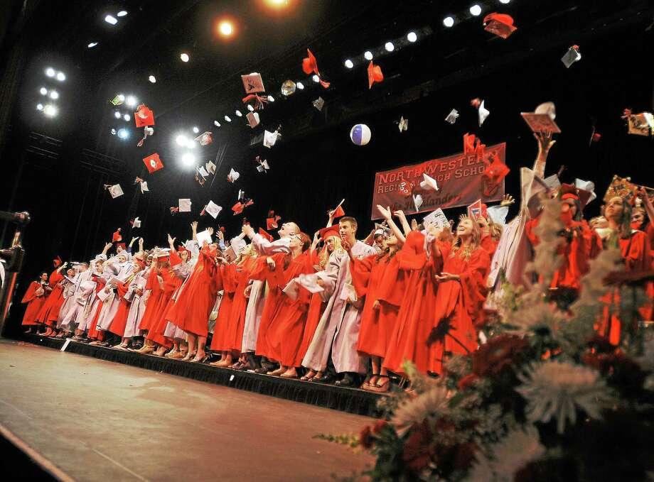 Northwestern Regional High School grads celebrate at the Warner Theatre on Wednesday. Photo: Laurie Gaboardi — The Register Citizen
