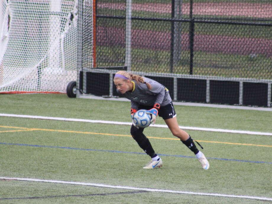 Jessica Binkowski makes a save during this past season for Castleton State. Photo: Submitted Photo — Ric Binkowski