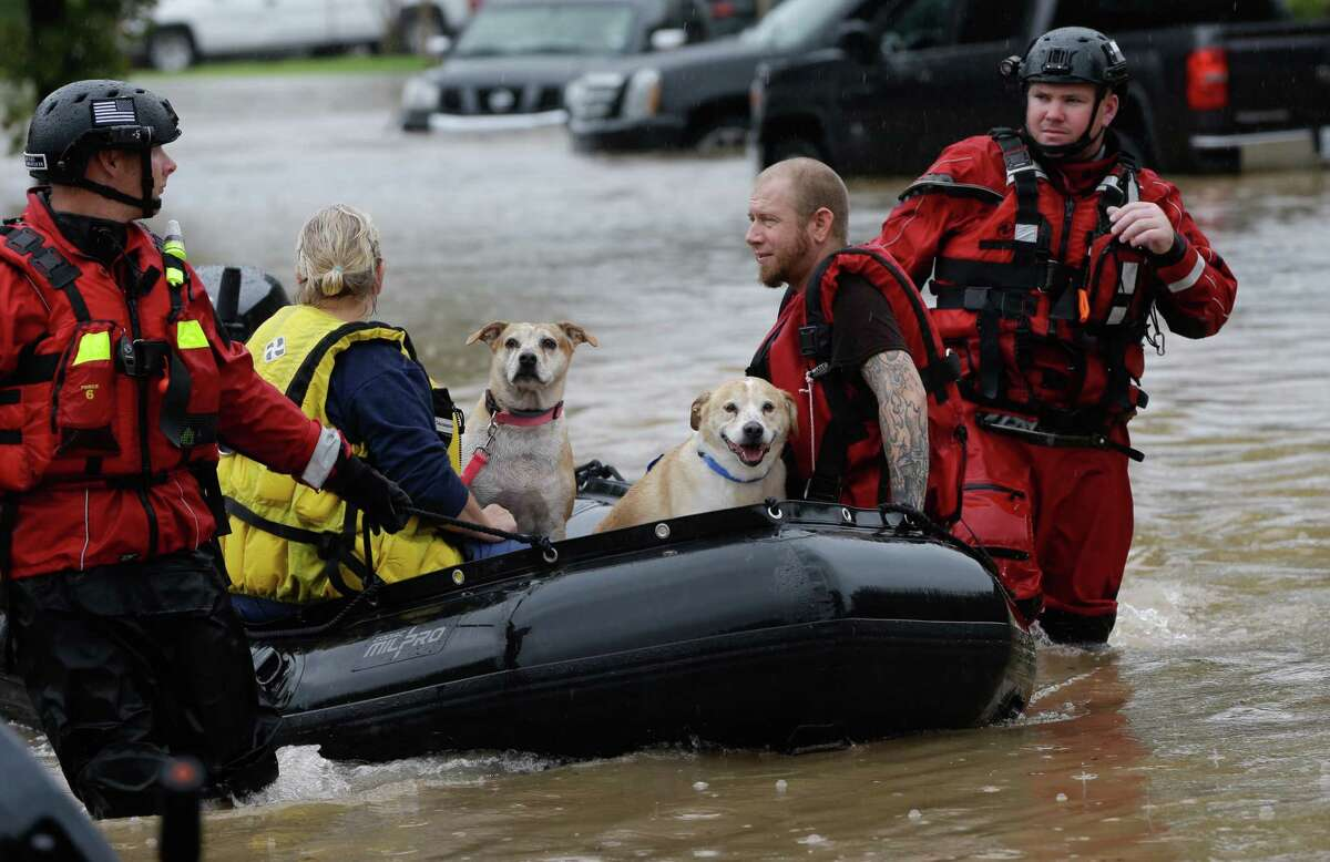 Jan Allen with dogs, Daisy and Toby, and her son, Chris Allen, ride in a rescue boat to a pickup area along Edgebrook Sunday, August 27, 2017. Much of the area is flooded from rains after Hurricane Harvey.