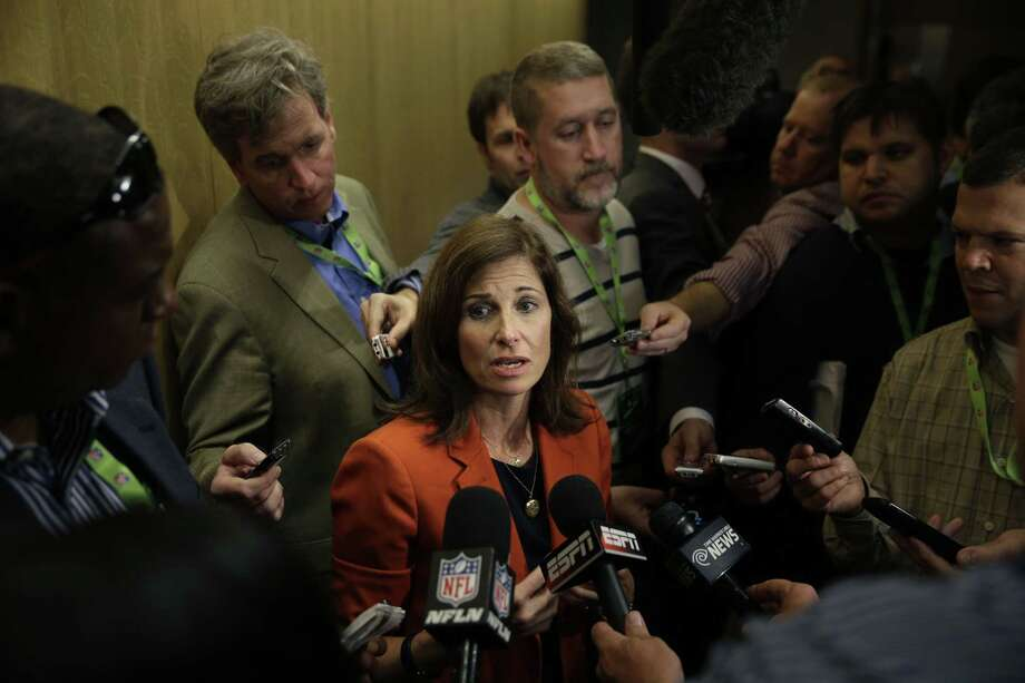 Lisa Friel, vice president of the Sexual Misconduct Consulting & Investigations division for T&M Protection Resources, talks with reporters during a meeting of NFL owners and executives in New York on Wednesday. Photo: Seth Wenig — The Associated Press  / AP