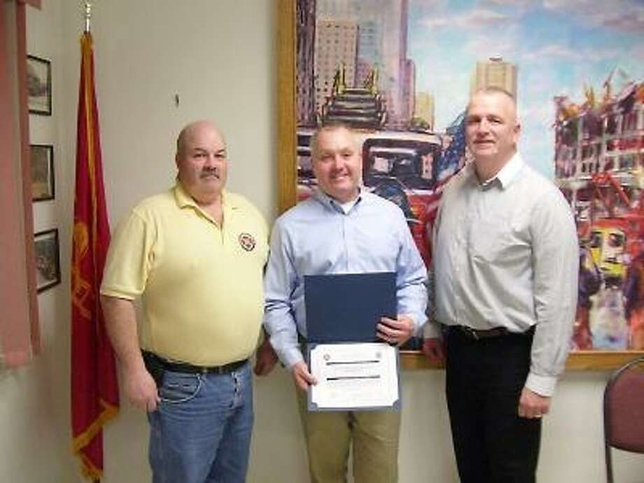 Litchfield County Fire Chiefs Vice President Glenn Clark (left) CT Statewide Fire/Rescue Disaster Plan Member Bill Higgins (center), and Litchfield County Fire Chiefs President John Field (right) were all in attendance for the presentation of these citations/awards.