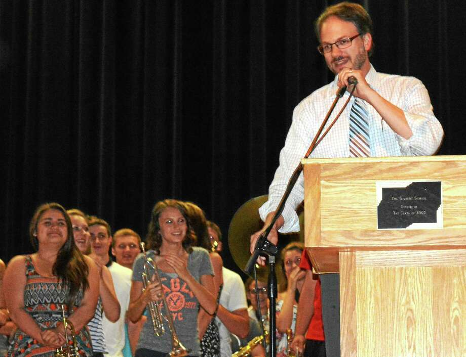 Scott Minnerly was recognized at The Gilbert School's teacher of the year in Winsted Tuesday. Photo: Ryan Flynn — The Register Citizen