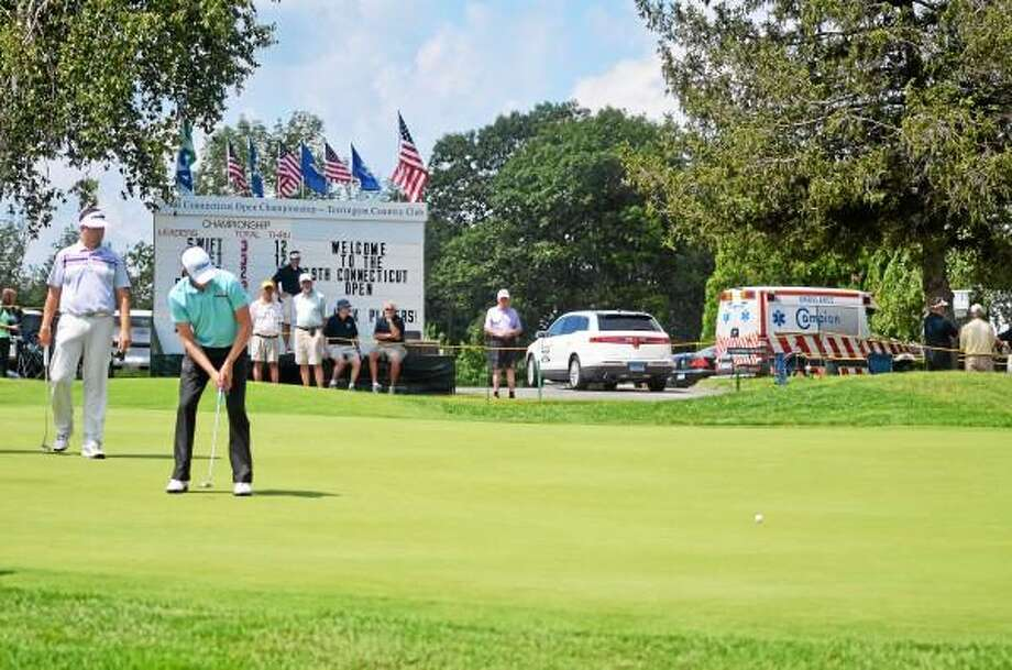 Duncan Littlefield putts during Monday's round of 79th Annual Connecticut Open Championship at Torrington Country Club. John Berry - Register Citizen