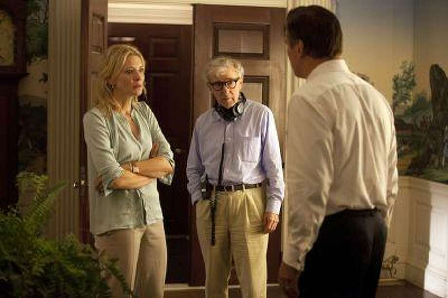 """This publicity image released by Sony Pictures Classics shows, actress Cate Blanchett, left, director Woody Allen, center, and Alec Baldwin on the set of """"Blue Jasmine."""" Photo: ASSOCIATED PRESS / AP2012"""