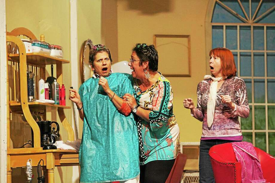 """Image courtesy of the Goshen Players  Eileen Epperson, Lydia Babbitt and Ingrid Smith act out a scene from """"Steel Magnolias"""" in the Goshen Players' performances of the popular movie and play. The show is being staged at the Old Town Hall in Goshen, home of the Goshen Players. Photo: Journal Register Co."""
